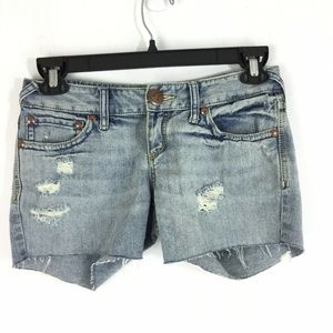 Free People Cut Off Blue Jean Distressed Shorts